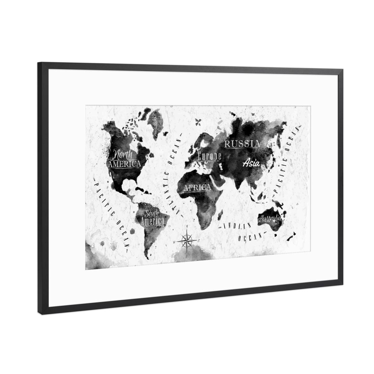 Tinte Weltkarte als Gerahmt bei artboxONE kaufen