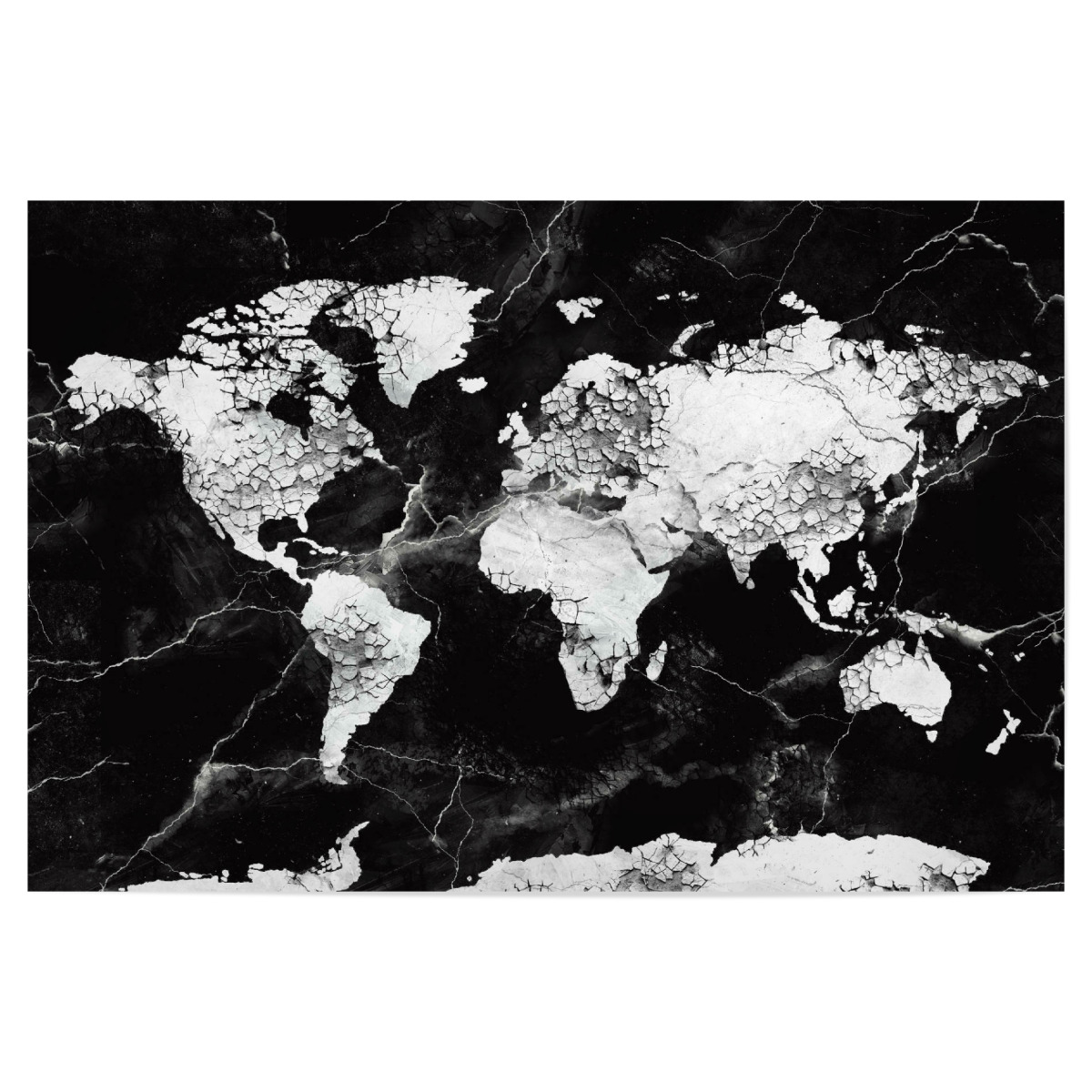 world map marble black and white 2 als Poster bei artboxONE kaufen
