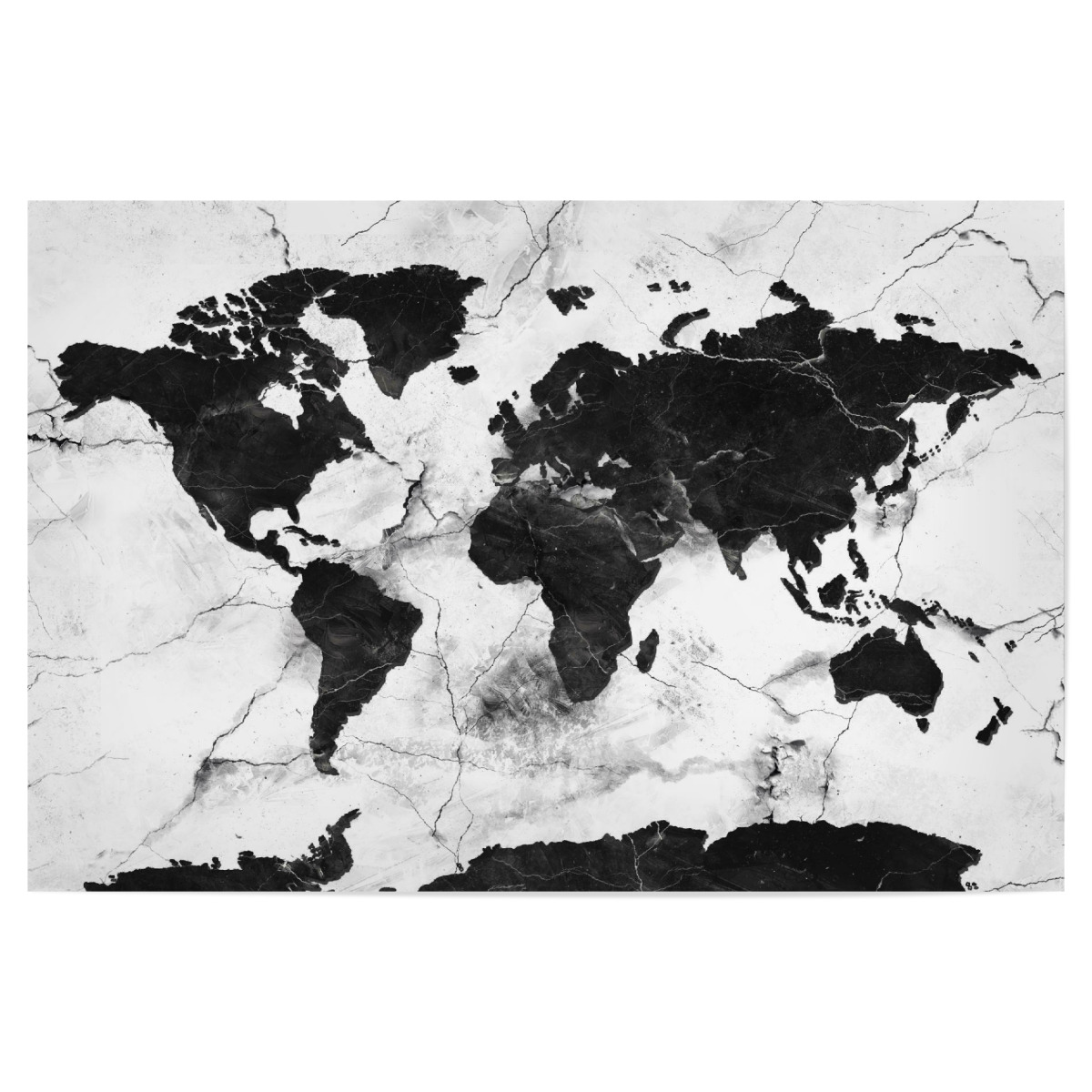Purchase the world map marble black and white as a Poster at ...
