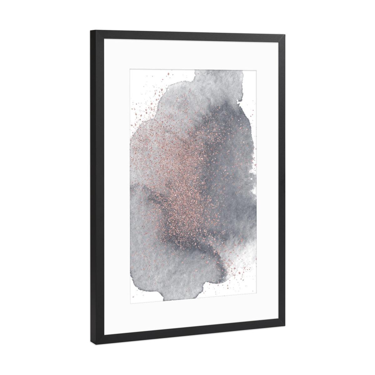 Rose Gold Sparkles on Black Watercolour II als Gerahmt bei artboxONE ...