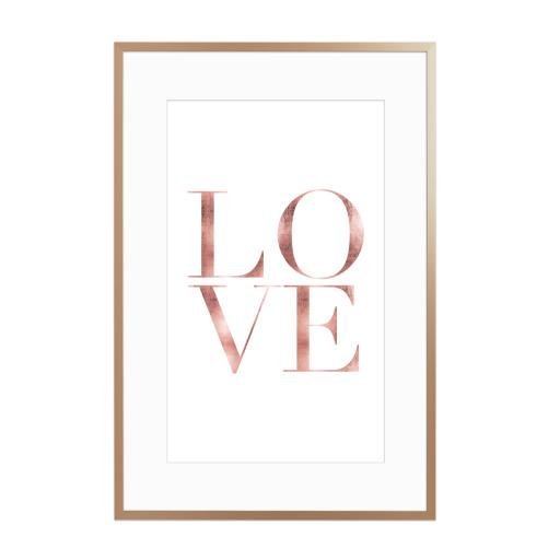 LOVE rose gold Gerahmt