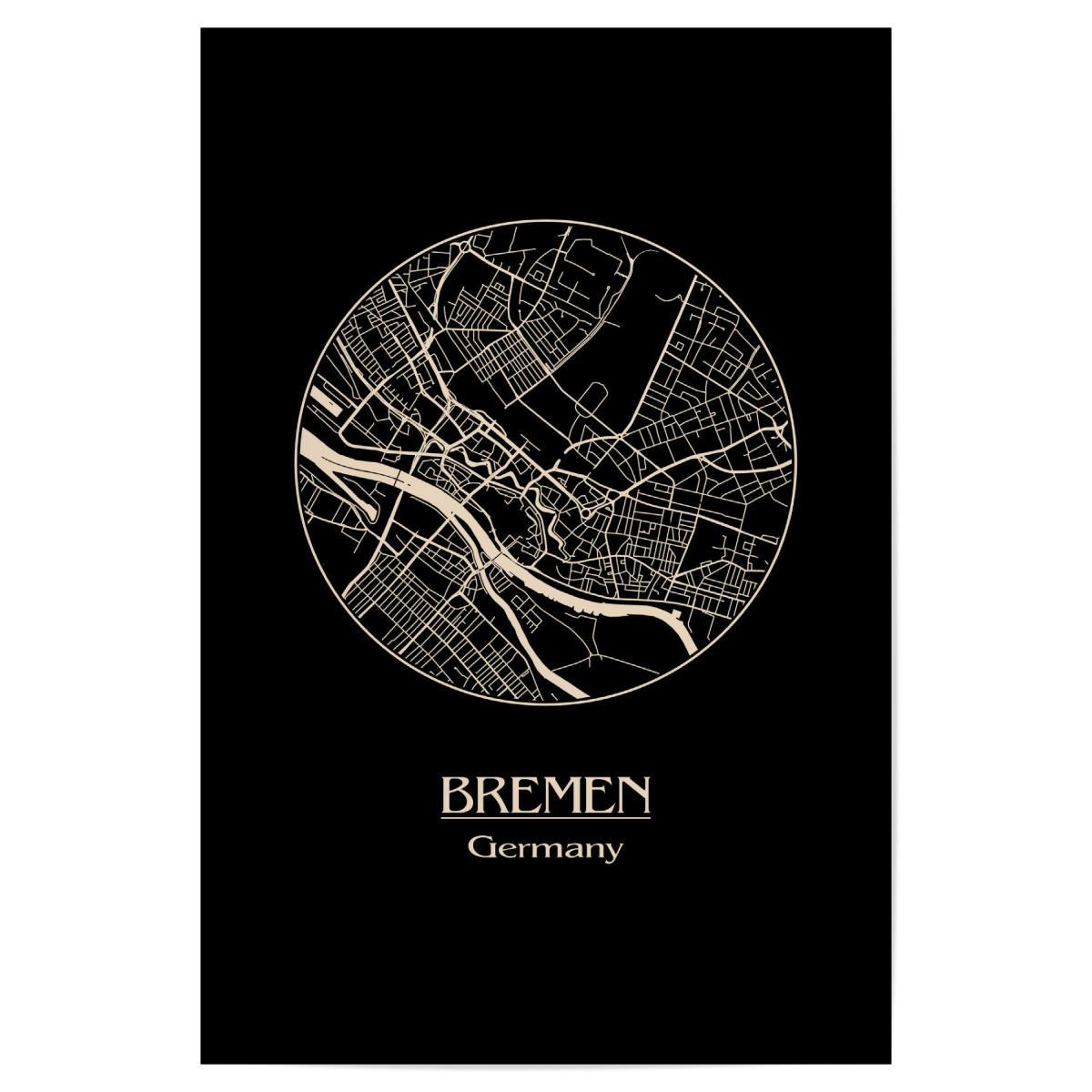 Bremen Germany Retro Map als Poster bei artboxONE kaufen