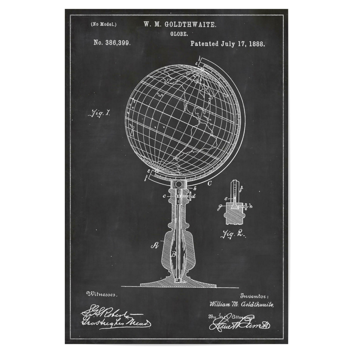 Globus Blaupause als Poster bei artboxONE kaufen