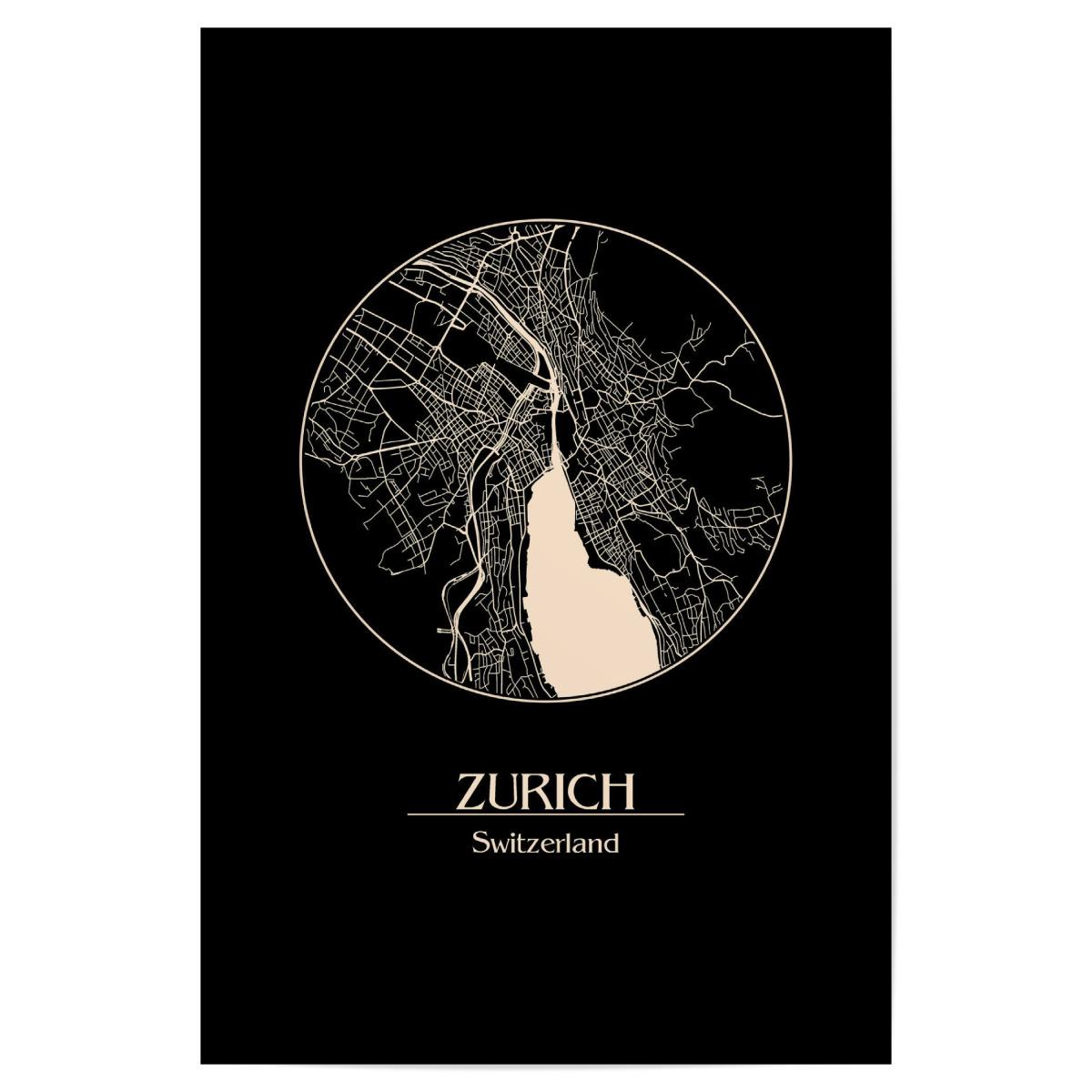 Retro Map of Zurich Switzerland als Poster bei artboxONE kaufen on