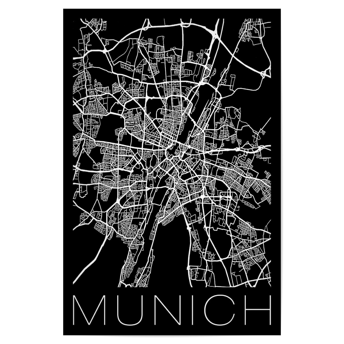Retro Map Munich Germany als Poster bei artboxONE kaufen