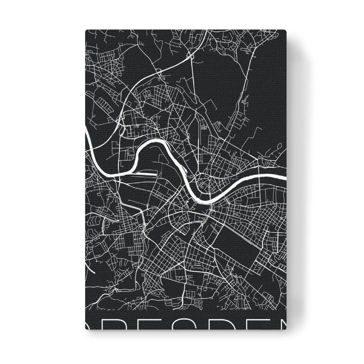 Retro Map Dresden Germany als Leinwand bei artboxONE kaufen on