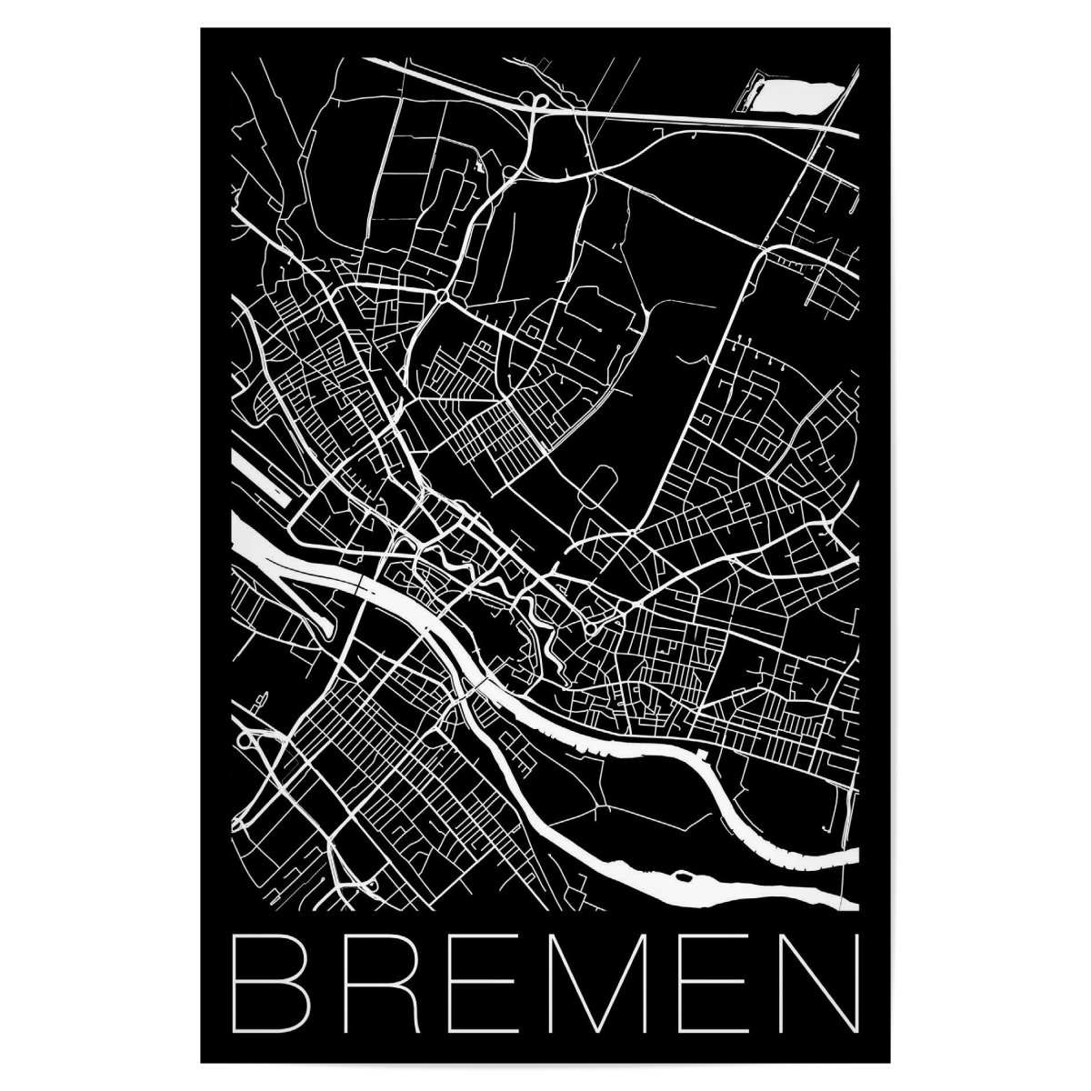 Purchase The Retro Map Bremen Germany As A Poster At Artboxone
