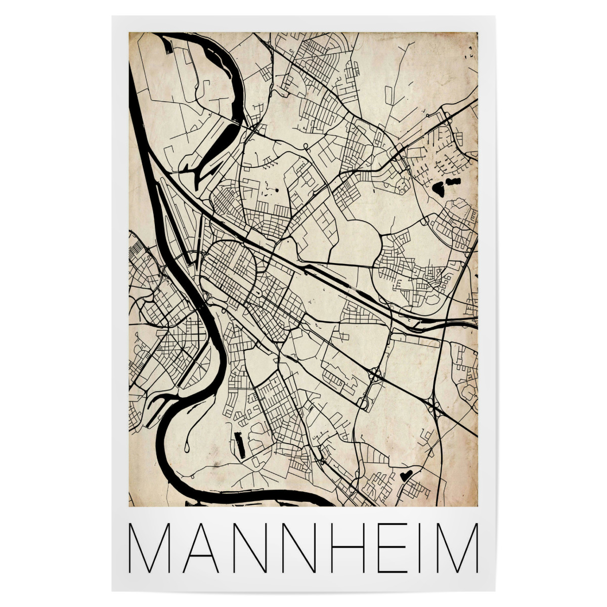 Map Of Germany Mannheim.Purchase The Retro Map Mannheim Germany As A Poster At Artboxone