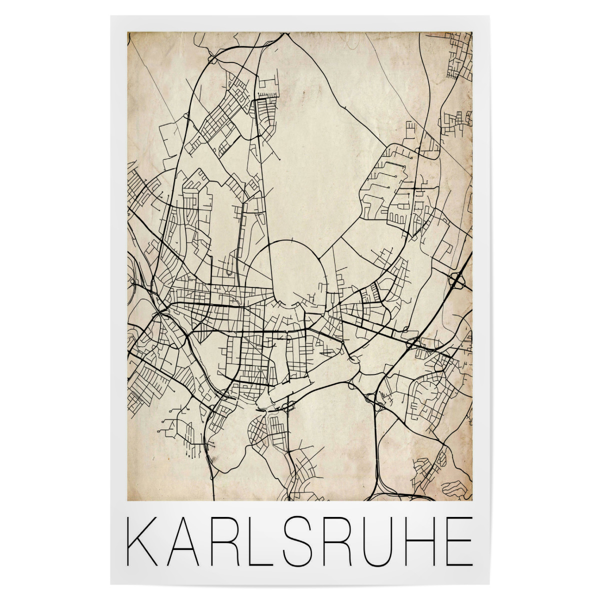 Karlsruhe Map Of Germany.Purchase The Retro Map Of Karlsruhe Germany As A Poster At Artboxone
