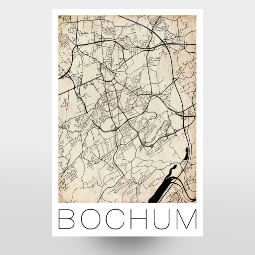 Purchase The Retro Map Of Bochum Germany As A Poster At Artboxone