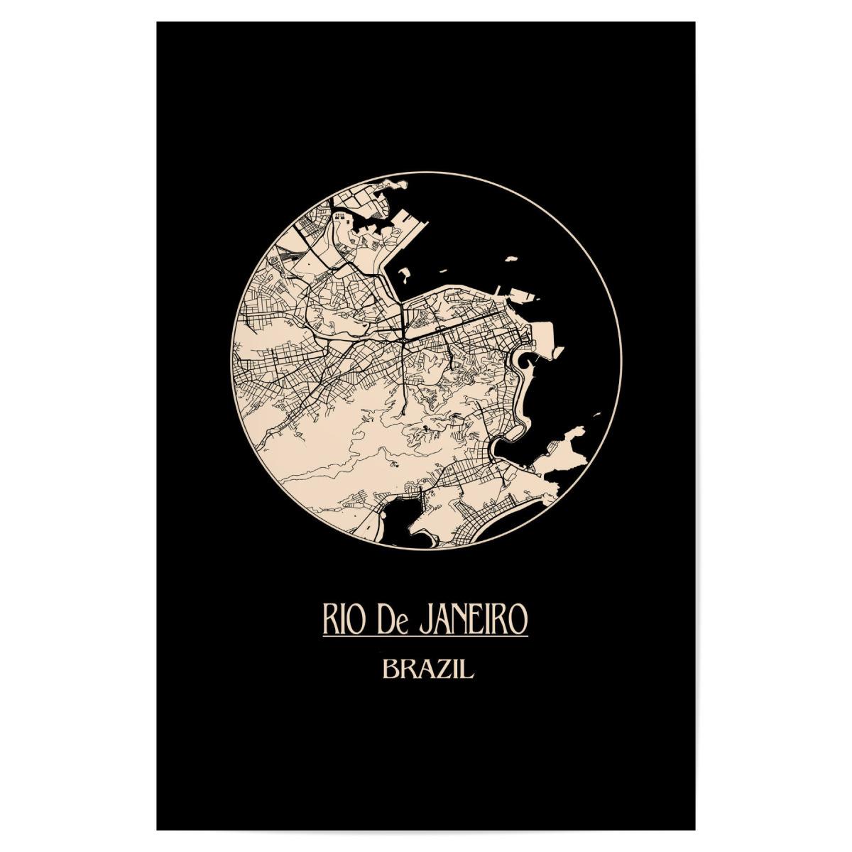 Retro Map of Rio de Janeiro Brazil als Poster bei artboxONE ...