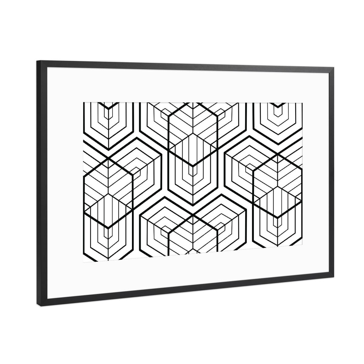 Geometrie Schwarz-Weiß Große Hexagon als Gerahmt bei artboxONE kaufen