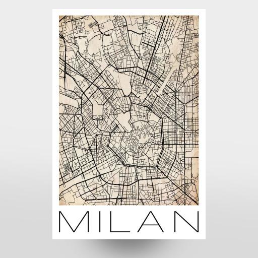 Retro Map of Milan Italy als Leinwand bei artboxONE kaufen