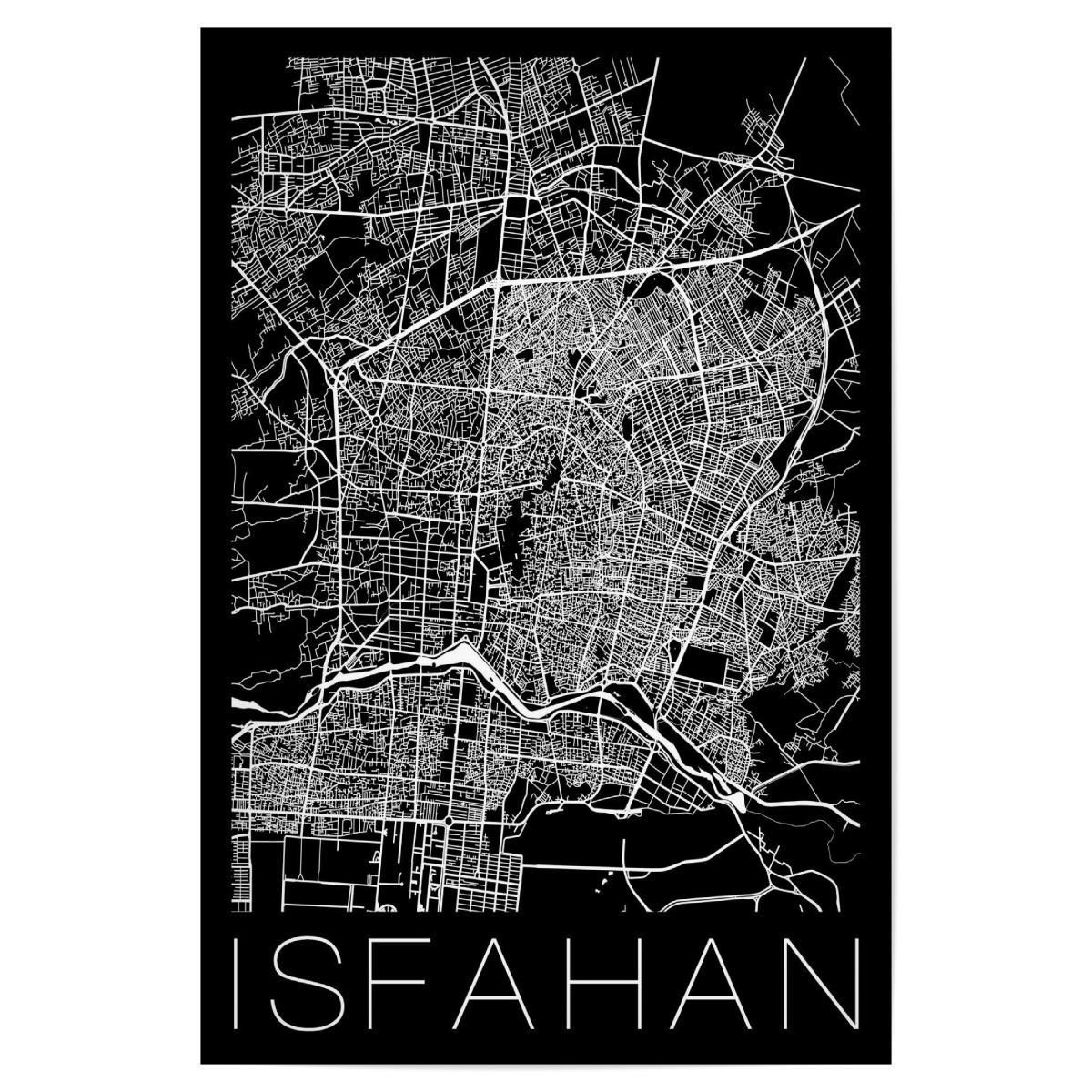 Retro Map of Isfahan Iran als Poster bei artboxONE kaufen