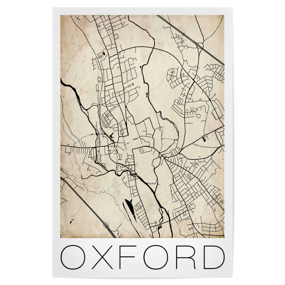 Purchase The Retro Map Of Oxford England As A Poster At Artboxone