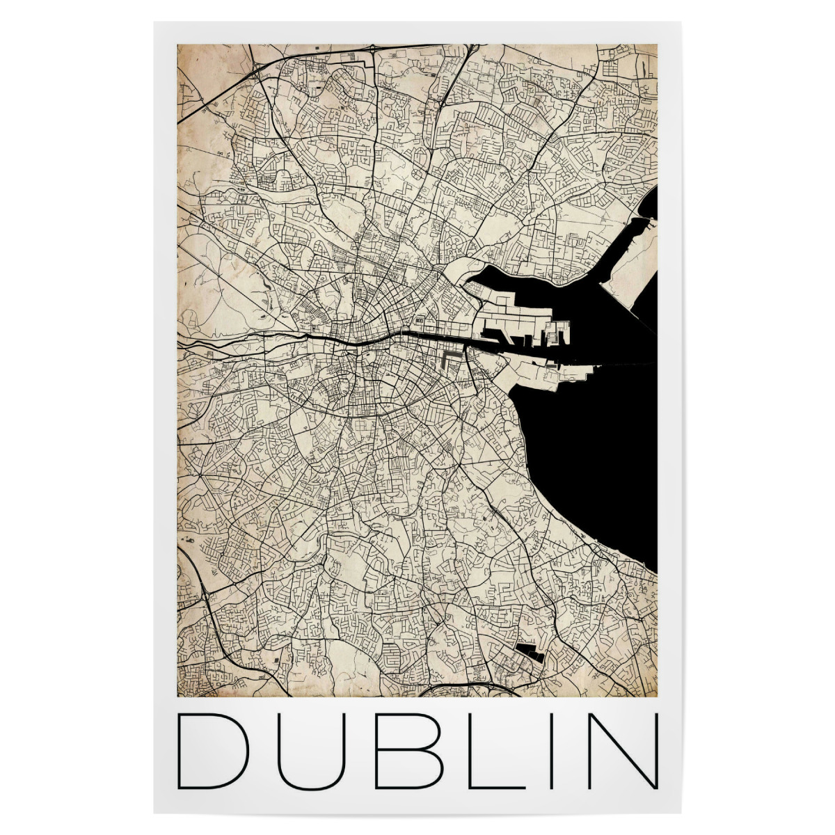 Map Of Ireland Poster.Purchase The Retro Map Dublin Ireland As A Poster At Artboxone