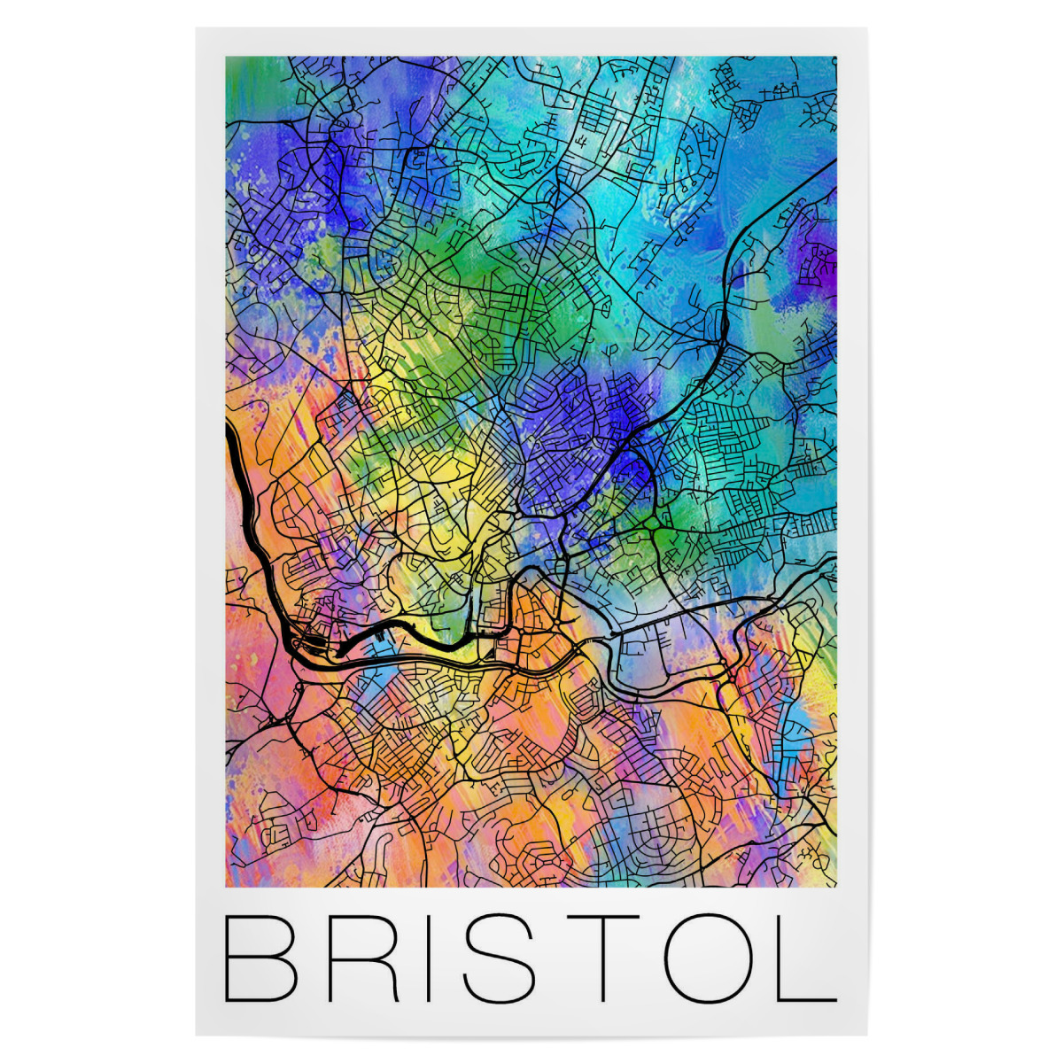 Map Of Bristol England.Purchase The Retro Map Of Bristol England As A Poster At Artboxone