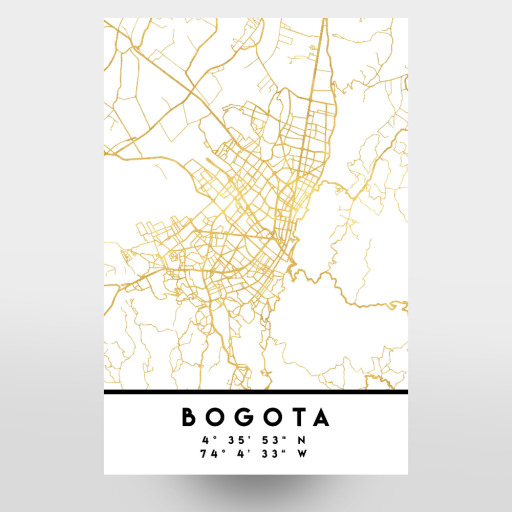 BOGOTA COLOMBIA STREET MAP ART als Poster bei artboxONE kaufen