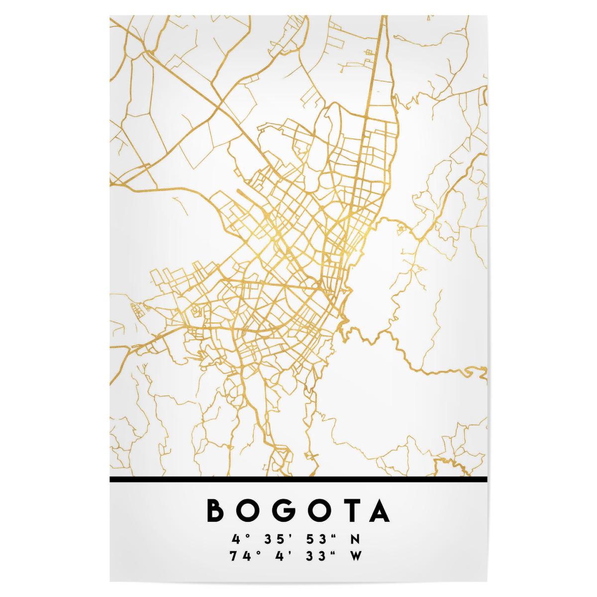 BOGOTA COLOMBIA STREET MAP ART als Poster bei artboxONE kaufen on
