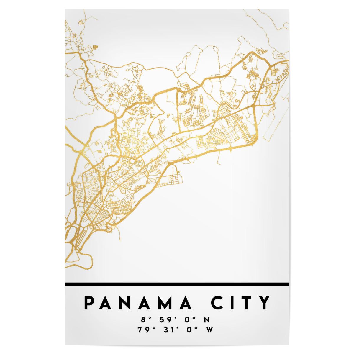 PANAMA CITY STREET MAP ART als Poster bei artboxONE kaufen
