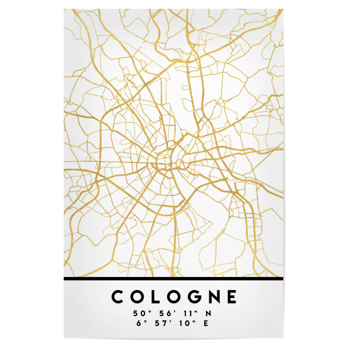 COLOGNE GERMANY STREET MAP ART als Poster bei artboxONE kaufen