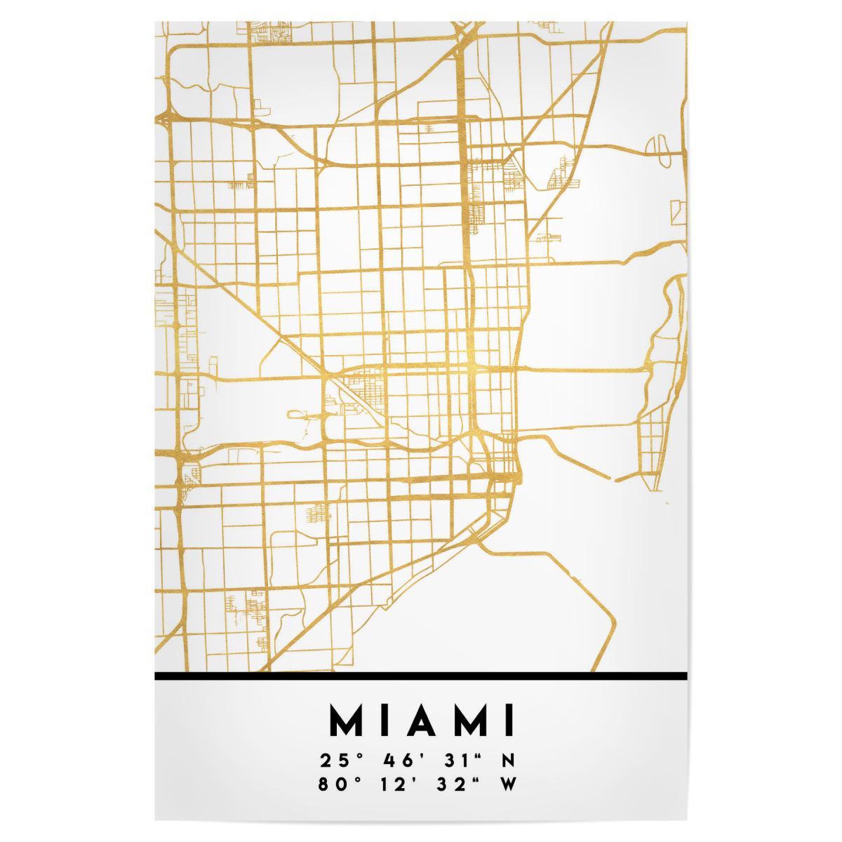 MIAMI FLORIDA STREET MAP ART als Poster bei artboxONE kaufen on