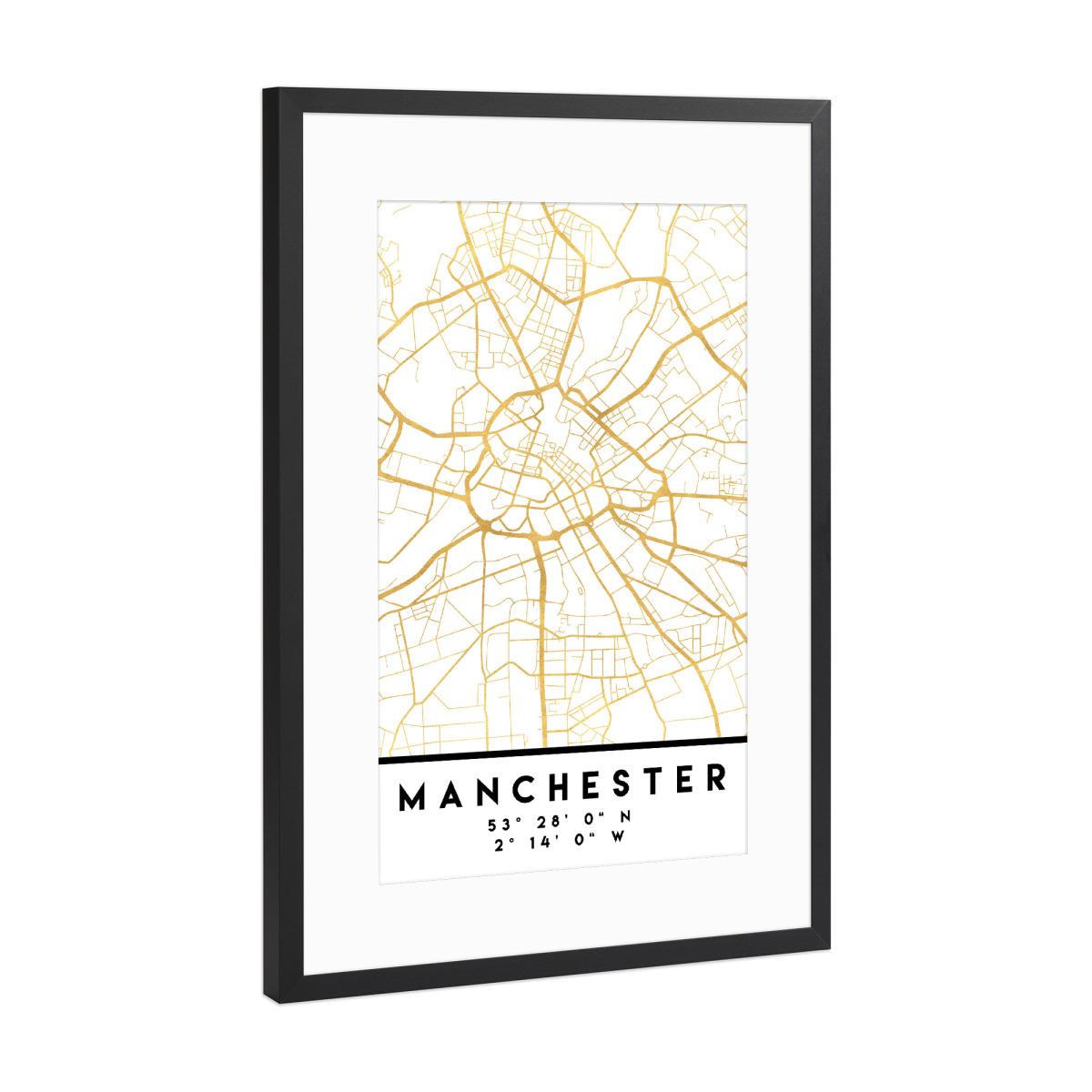 MANCHESTER ENGLAND STREET MAP ART als Gerahmt bei artboxONE kaufen