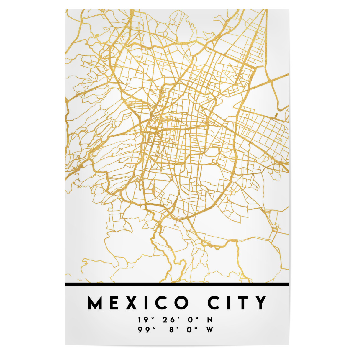 MEXICO CITY STREET MAP ART als Poster bei artboxONE kaufen