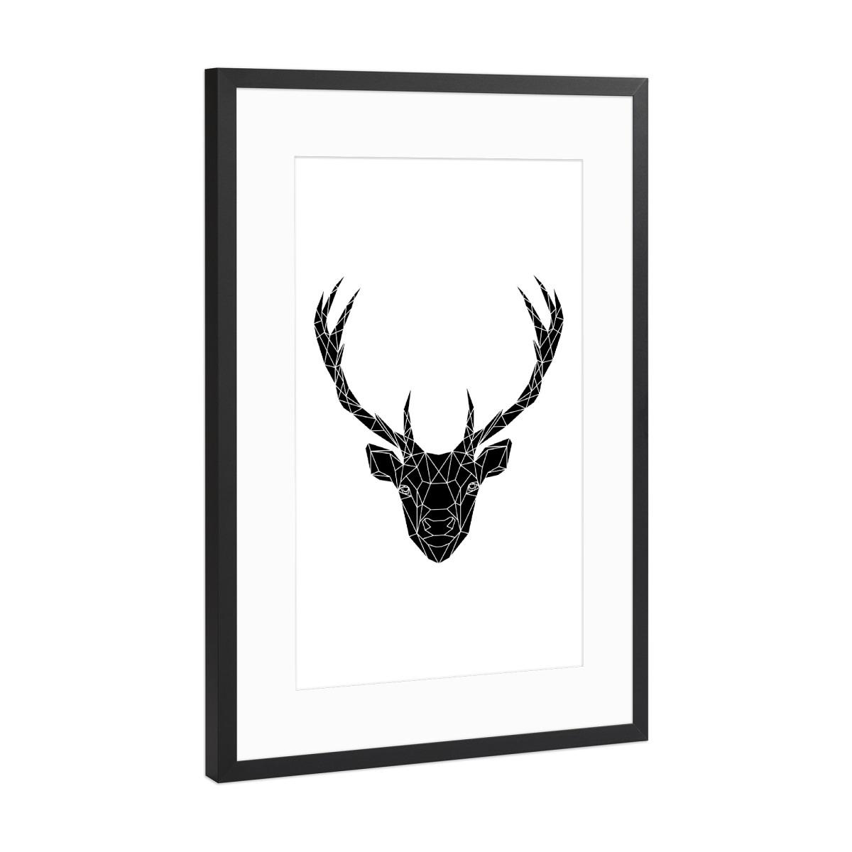 Geometric Deer Head Black als Gerahmt bei artboxONE kaufen