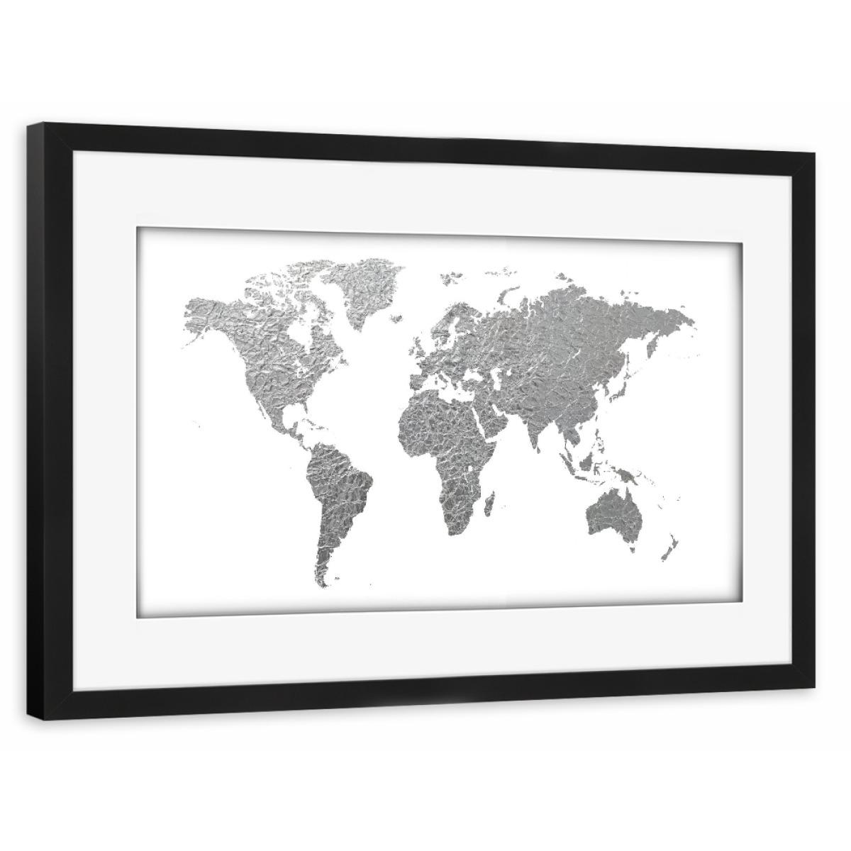 Wandfarbe Farbpalette Toom Eine Graue Farbpalette: World Map Silver Foil Als Gerahmt Bei ArtboxONE Kaufen