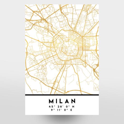 MILAN ITALY STREET MAP ART als Poster bei artboxONE kaufen