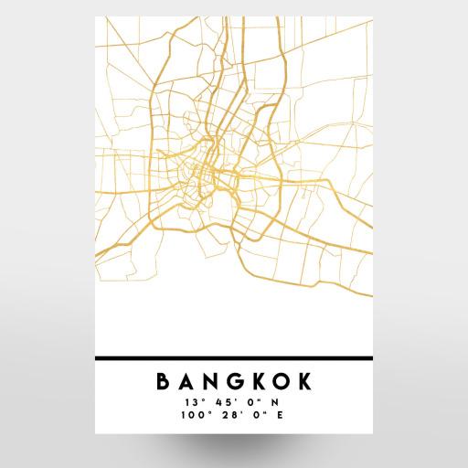 BANGKOK THAILAND STREET MAP ART als Postkarten bei artboxONE kaufen