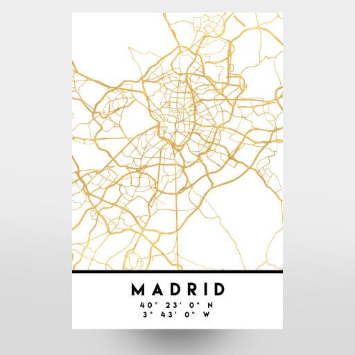 MADRID SPAIN STREET MAP ART als Postkarten bei artboxONE kaufen