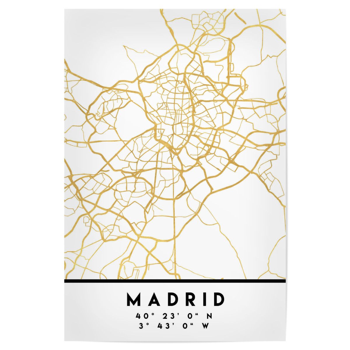 MADRID SPAIN STREET MAP ART als Poster bei artboxONE kaufen