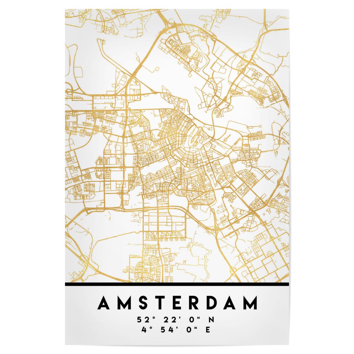 AMSTERDAM HOLLAND STREET MAP ART als Poster bei artboxONE kaufen