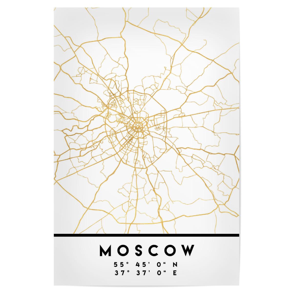 MOSCOW RUSSIA STREET MAP ART als Poster bei artboxONE kaufen