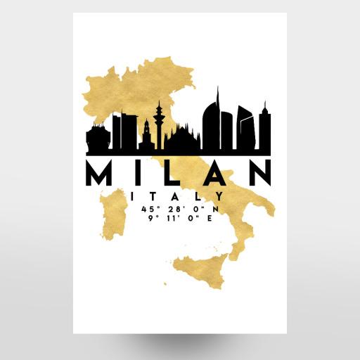 MILAN ITALY SKYLINE MAP ART als Poster bei artboxONE kaufen