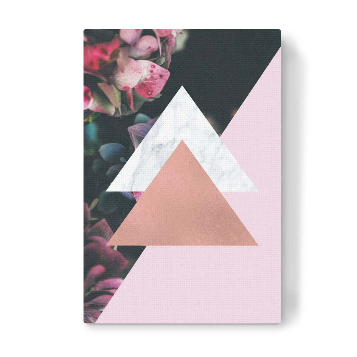 Purchase the Rose Gold Foil Geometric Floral as a Canvas at