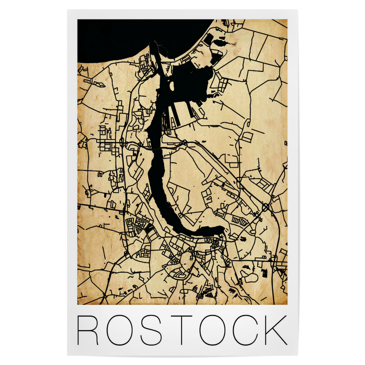 Purchase The Retro Map Of Rostock Germany As A Poster At Artboxone