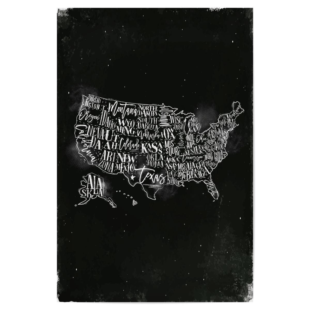 Map USA vintage chalk als Poster bei artboxONE kaufen