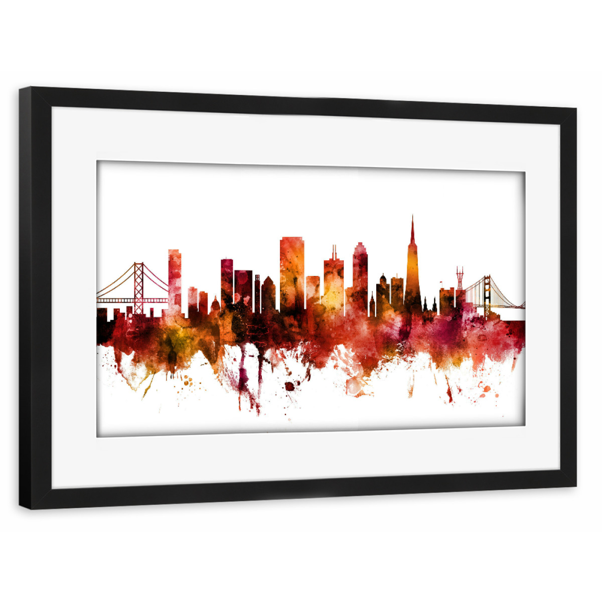 Purchase the San Francisco City Skyline red as a Frame at