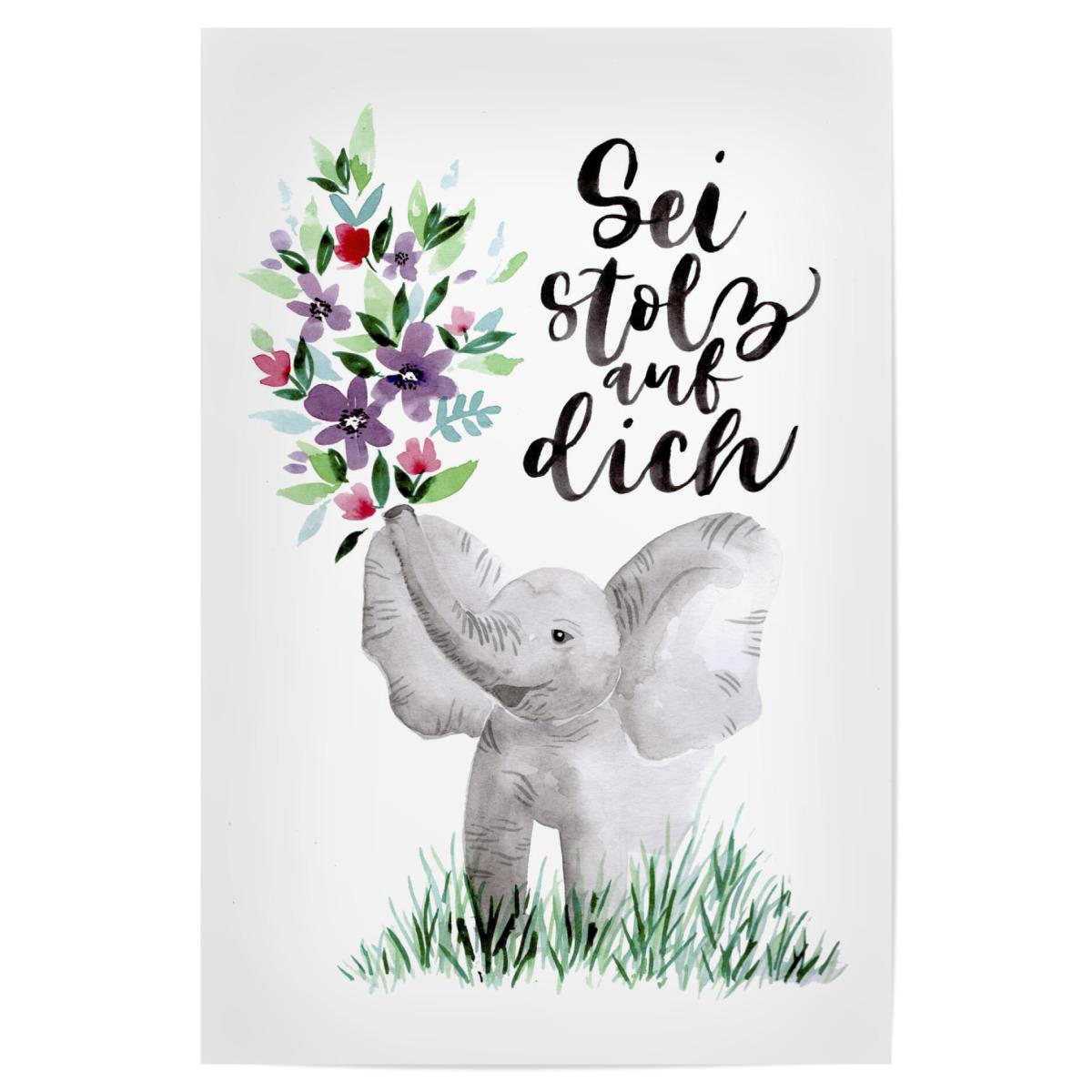 Elefant mit Blumen als Poster bei artboxONE kaufen