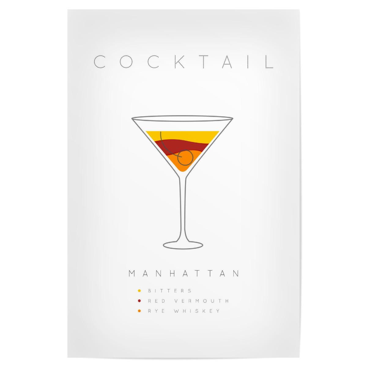 Manhattan Cocktail Flat Als Poster Bei Artboxone Kaufen
