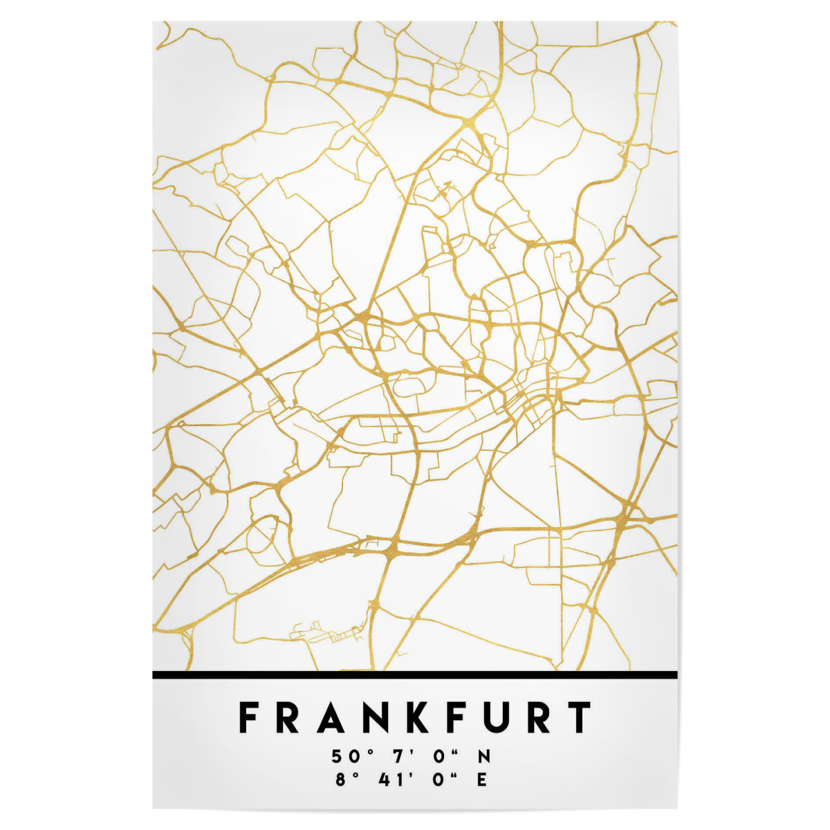 FRANKFURT GERMANY STREET MAP ART als Poster bei artboxONE kaufen
