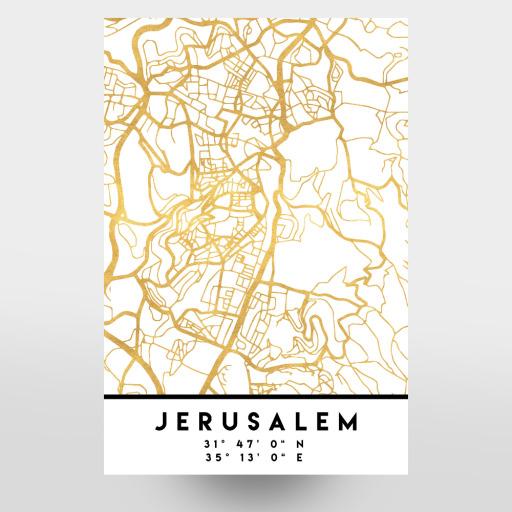 JERUSALEM ISRAEL/PALESTINE MAP ART als Holzbild bei artboxONE kaufen