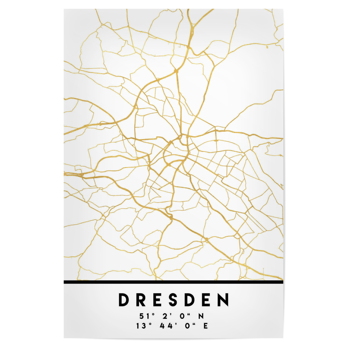 DRESDEN GERMANY STREET MAP ART als Poster bei artboxONE kaufen on