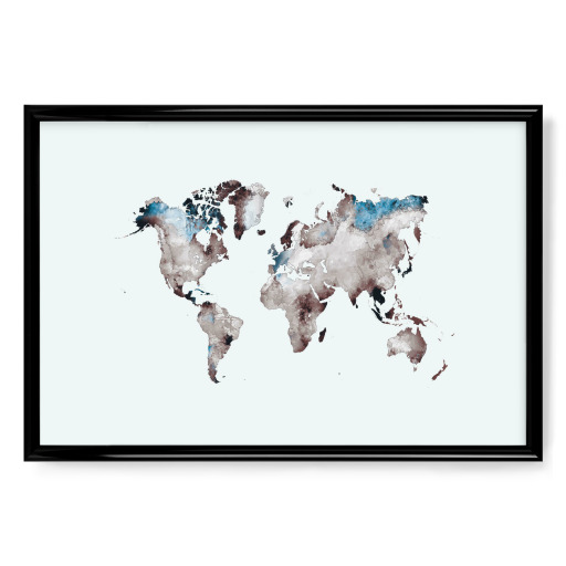 World map 79 white blue Poster