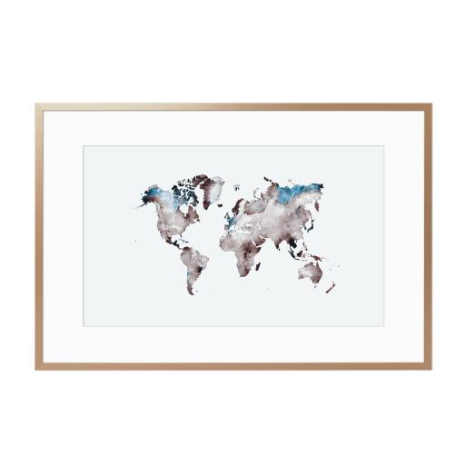 World map 79 white blue Gerahmt