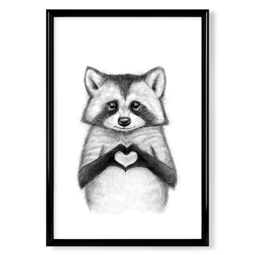 Raccoon with heart Poster