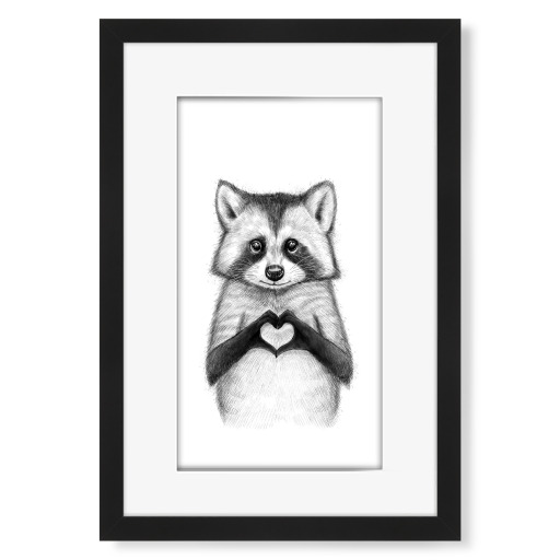 Raccoon with heart Gerahmt